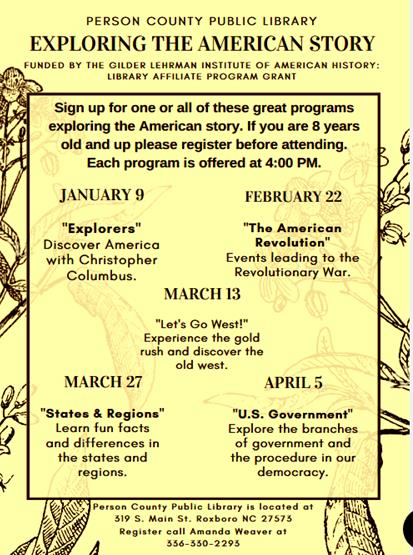 Person County NC Calendar Exploring The American Story - American revolution facts